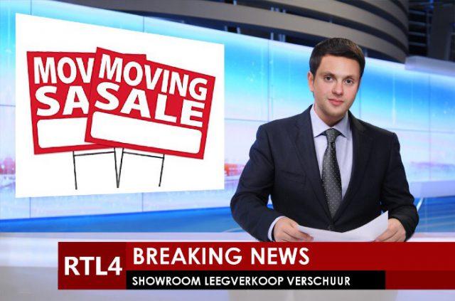 Showroom leegverkoop wegens verhuizing
